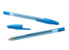 Two blue pens Royalty Free Stock Photos
