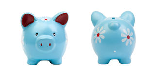 Two blue piggy-banks isolated Royalty Free Stock Image