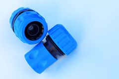 Two water hose connectors royalty free stock image
