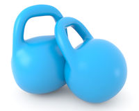 Two Blue Retro Styled Dumbbells Stock Images