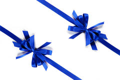 Two blue ribbons with bow Royalty Free Stock Images