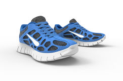 Two blue running shoes isolates on white Stock Photography