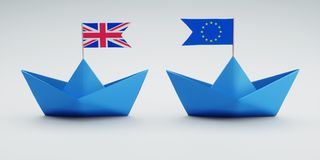 Two blue ships - Europe and Great Britain vector illustration