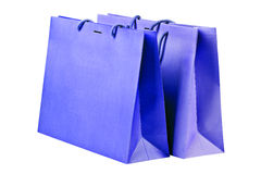 Two  blue shopping bags. Royalty Free Stock Image