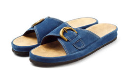 Two blue slippers Stock Image