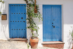 Two blue spanish door Royalty Free Stock Photography