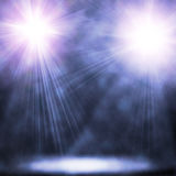 Two blue spotlights. Illustration of two blue spotlights stock photography