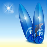 Two blue surfboard Stock Photography