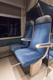 Two blue train seats  of a French train Royalty Free Stock Photo