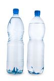 Two blue transparent bottle with water isolated Stock Photos