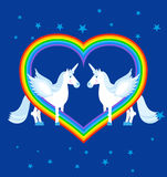 Two blue unicorn and rainbow in heart shape. Fantastic animals o Royalty Free Stock Photography