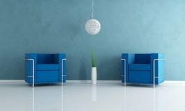 Two blue velvet armchair. And white chandelier -rendering Stock Photo