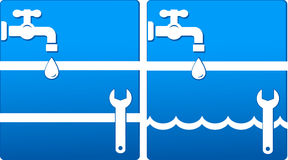 Water icons with tap and wrench Stock Image