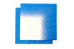 Two blue white paper napkins on white Royalty Free Stock Photography