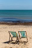 Two blue and white striped beach chairs on the sand beach with its back towards the camera Royalty Free Stock Images