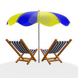 Two Blue Yellow Beach Loungers Under Parasol Royalty Free Stock Photo
