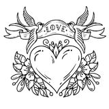Two bluebirds carry ribbon with lettering LOVE over heart. Red heart decorated with flowers. Black and white tattoo stock illustration