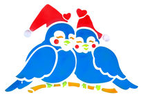 Two Bluebirds wearing Santa Hats Stock Image