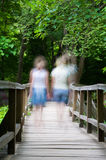 Two blurry girls walking Stock Photo