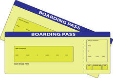 Two Boarding Pass. Two Yellow blank Boarding Passes. This is illustration Royalty Free Stock Photos
