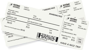 Two boarding pass tickets in gray colors Stock Photography