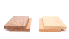 Two boards (acacia, oak) and two boards. (elm, lime) on a white background Stock Photography