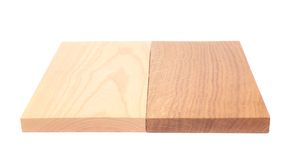 Two boards (elm, oak). On a white background Stock Photo