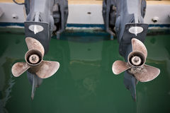 Two boat engine with propeller details shot stock photos