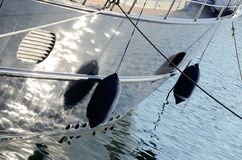 Two boat fenders, protecting the side of a sailing vesselt Stock Images