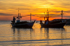 Two boat in morning Royalty Free Stock Photography