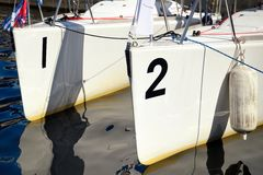 Two boat stern Royalty Free Stock Images