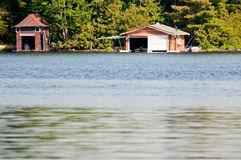 Two boathouses Stock Photo