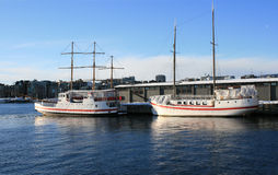 Two boats. By quay in Oslo, Norway stock image