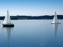 Two boats. This is on Chiemsee in Bavaria Royalty Free Stock Photography