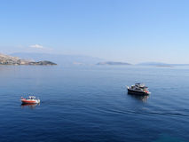Two boats in the Adriatic Sea off the coast of Croatia Royalty Free Stock Photography