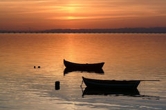 Two Boats At Sunset Stock Photos