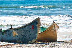 Two boats on the beach Stock Photography