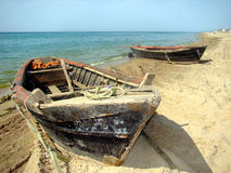 Two boats at the beach Stock Photography