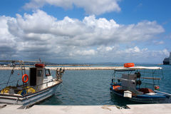 Two boats in  Katakolon. Two boats in the port of  Katakolon in Grece Royalty Free Stock Images