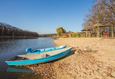 Two boats on the lake, pond Royalty Free Stock Photography