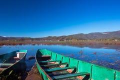 Two boats. Lashihai lake, Yunnan Province, China Royalty Free Stock Image