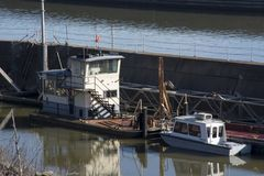 Two boats at the locks stock images