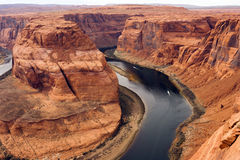 Two Boats Navigate Colorado River Deep Canyon Horseshoe Bend Southwest Stock Photo