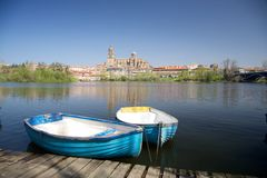 Two boats next in front of Salamanca Royalty Free Stock Photos