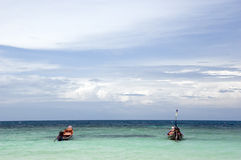 Two boats on the ocean royalty free stock images