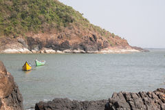 Two boats. Paradise Beach. Wonderful Beaches in Uttara Kannada Karnataka, India Royalty Free Stock Photo
