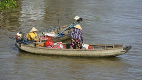 Two Boats at Phong Dien Floating Market Stock Photography