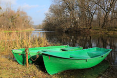 Two boats on river Stock Photography