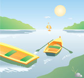 Two Boats on the River. A  illustration of a two boats on the shore Stock Images