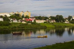 Two boats on the river. Two boats sail along the river along the town of Polotsk Stock Photo